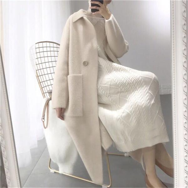Sonbahar Kış Kadın Moda Gevşek Rahat Boy Kazak Bej Kaşmir Uzun Hırka Ceket Chic Yün Sıcak Örme Mont