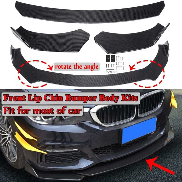 Fibra de carbono Look / Negro Kits de cuerpo de parachoques de barbilla de labio frontal de 3 piezas universales del automóvil Girar el ángulo Nuevo para Honda Para Civic Para Benz