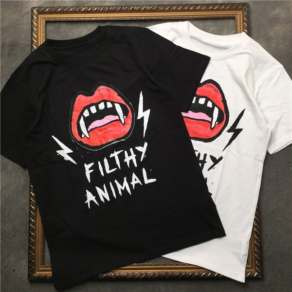 Designer Neil Brand Mens T shirts Fashion Blood Teeth Filthy Animal Print Tees 19ss Summer High Quality Male B t-shirts