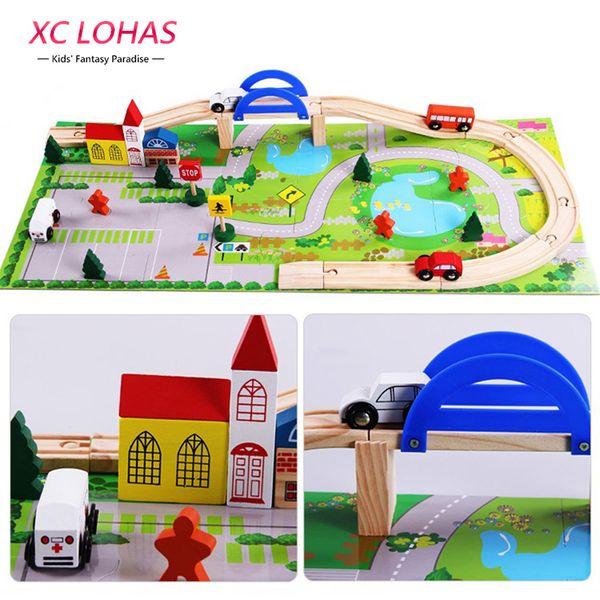 Respetuoso del medio ambiente 40pcs / Set Diy Bloques de construcción de vías de tren de madera de la ciudad de juguete Bebé ensamblar Tráfico Diecasts Vehículos de juguete Juguetes Regalos de Navidad