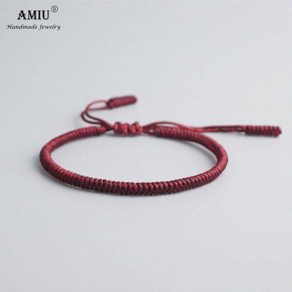 AMIU 19 Couleurs Tibétain Bouddhiste Amour Chanceux Charme Tibétain Bracelets Bracelets Pour Femmes Hommes À La Main Noeuds Corde Budda Bracelet