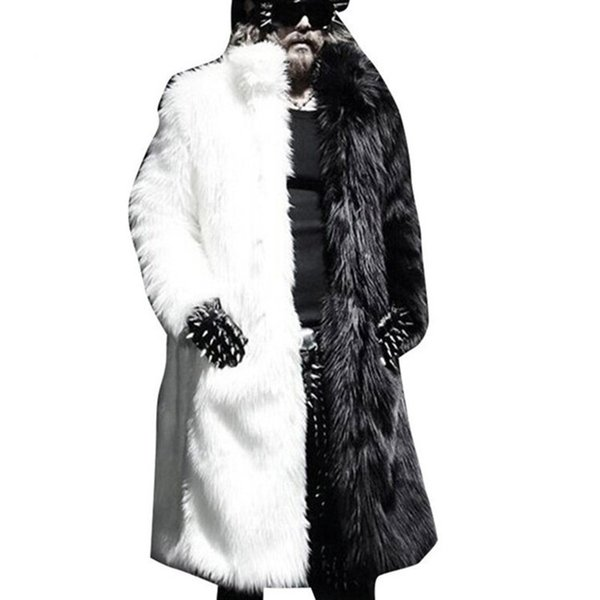 Winter Men Faux Fur Jacket Black White Warm Thick Jacket Fashion Faux Fur Jaqueta Couro Masculino s-3XL