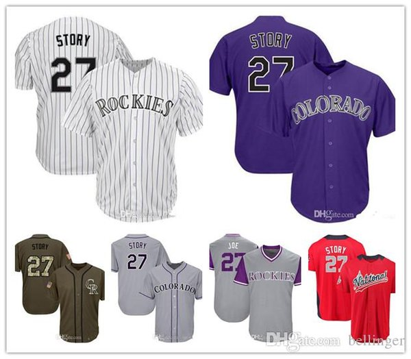promo code 44e6d 71680 2019 Rockies Jerseys 27 Story Baseball Jerseys White Gray Grey Purple Green  Salute To Service Players Weekend Men Women Youth All Star From ...