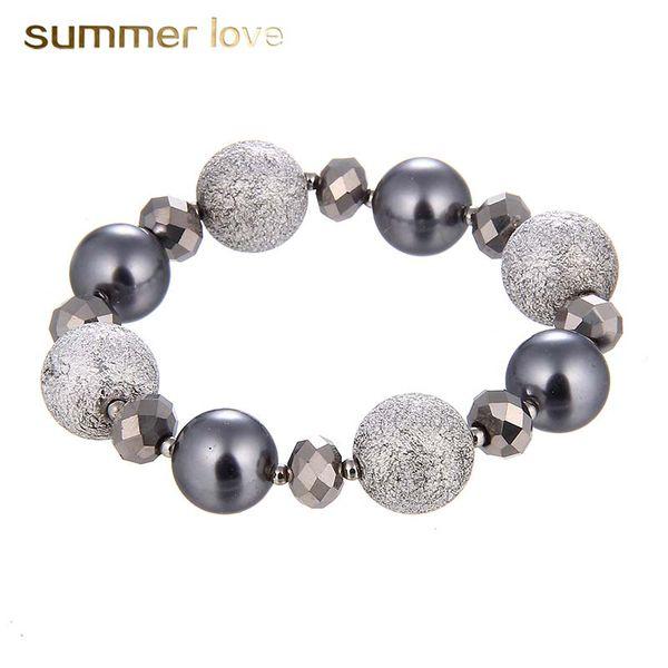 Handmade Pearl Matte Alloy Beads Bracelet for Women Men 14MM &17MM Elastic Beads Bracelet Fashion Jewelry Wholesale