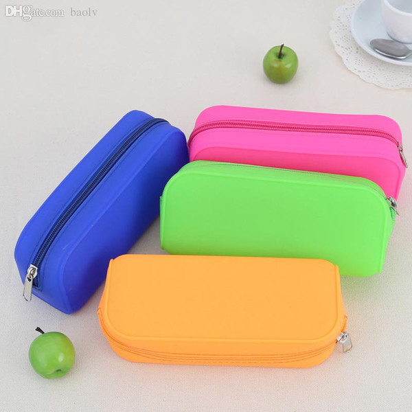 top popular Wholesale-Candy-colored Silicone Pencil Case Lovely Pencil Bag Zipper Pen Case Multifunctional Handbag School Supplies Cute Stationery 2021