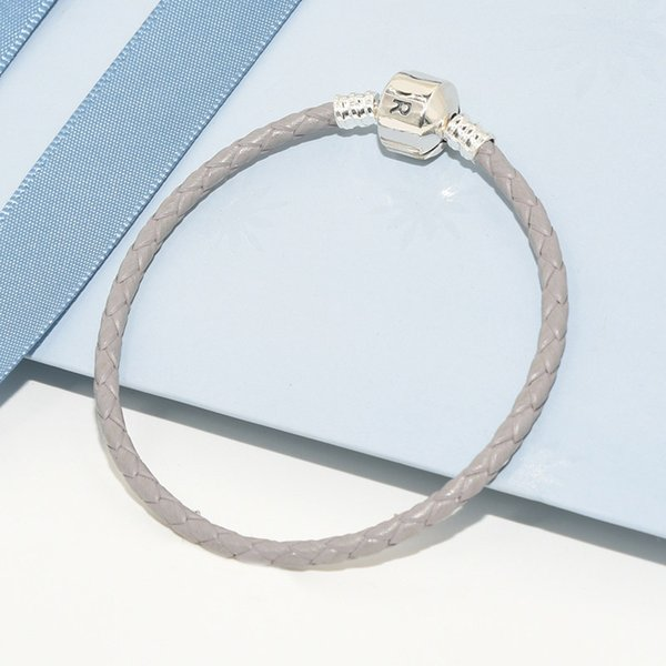 LuxuriesFashion Classic designer Gray Real Leather Women Mens Rope Bracelets Original box for Pandora 925 Sterling Silver Charms Bracelet