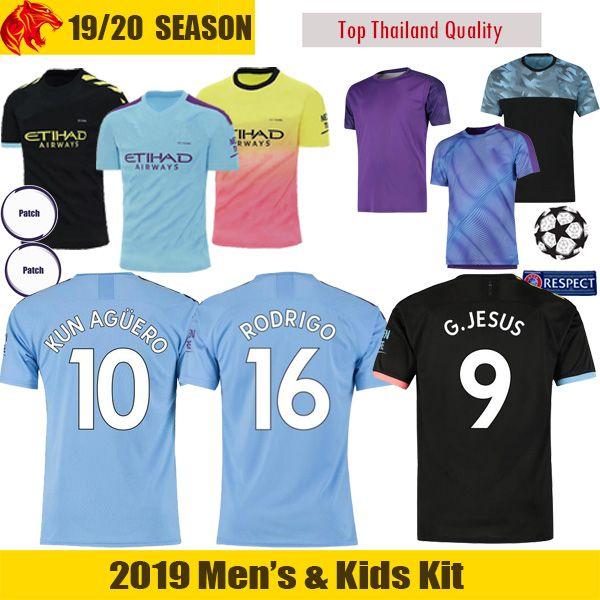 19 20 Manchester City Maillot de football SANE 2019 2020 Man City soccer jersey DE BRUYNE KUN AGUERO Maillot de football SILVA STERLING Maillot de football MAHREZ Maillot