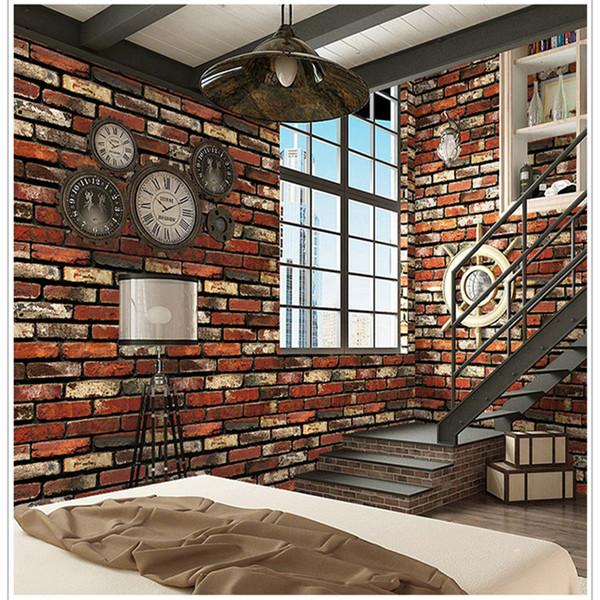 Self-adhesive Wall Sticker Retro Wall Paper PVC Waterproof Red Brick Lattice Wallpaper 3D Living Room Furniture Home Decor 10M