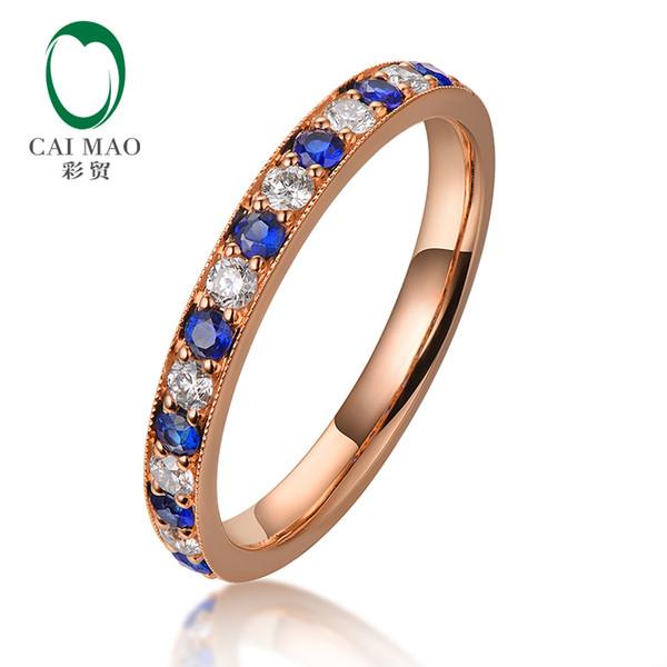 Caimao Half Eternity 18kt Rose Gold natürlichen Diamanten und Blue Sapphire Engagement Ehering Vintage Design Ring