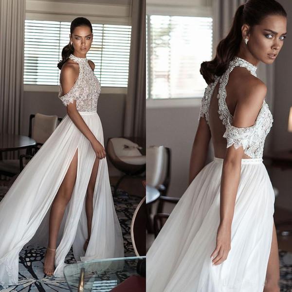 ad469c46a03 Elihav Sasson Bohemia Beach Свадебные платья с высокой шеей и открытыми  плечами Нежные бисерные шифоновые свадебные