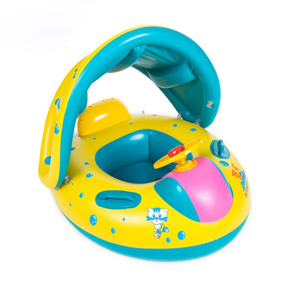 top popular 2019 Kids Infant Swim Rings Inflatable Baby Swimming Seat Boat Children Pool Float Swimming Ring With Removable Sun Shade Canopy 2019