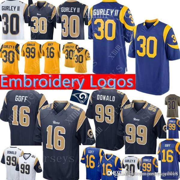 online store e4c29 e237b 2019 Los Angeles Rams 30 Todd Gurley II Jersey Mens 16 Jared Goff 99 Aaron  Donald Rams Football Jerseys Navy Blue White Yellow From Topmensjersey2018,  ...