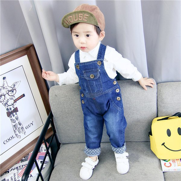 Children's Denim Overalls Baby Jeans Pants Baby Boys Girls Trousers Infant Clothing Toddler Babies Pants Little Kids 1-3 Years J190509