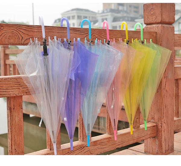 7 colori Trasparenti Trasparenti e colore Ombrello Danza Performance Manico lungo Ombrelloni da spiaggia Ombrello colorato per uomo Donna e bambino