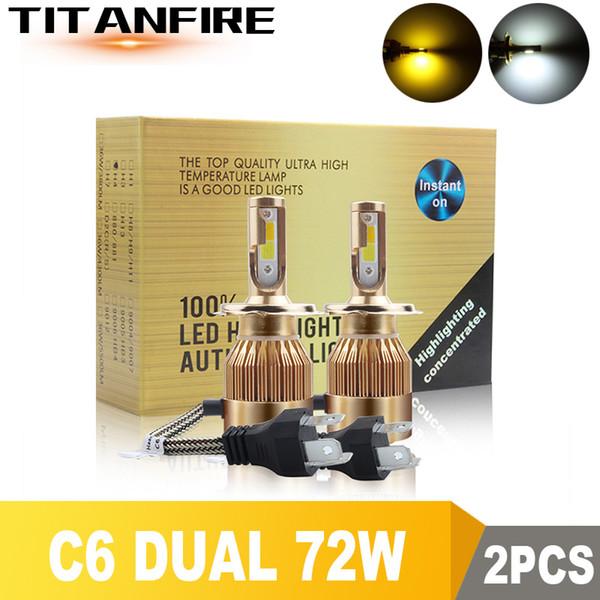 TF30 2Pcs / lot Faros LED Bombillas dobles Kit de conversión de oro Luz 72W 8000LM H1 H3 H4 H7 HB3 HB4 9004 9005 Auto C6 COB Coche 6000K