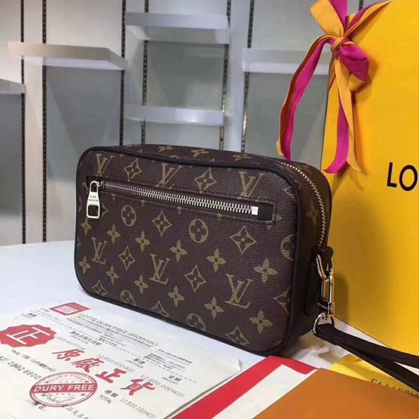 Fashion Luxury Plaid Flower Classic Damier Graphite Kasai Bags Mono Toiletry Kits Palm Wrists for Men Wallet Handbags Clutch Bag #4959