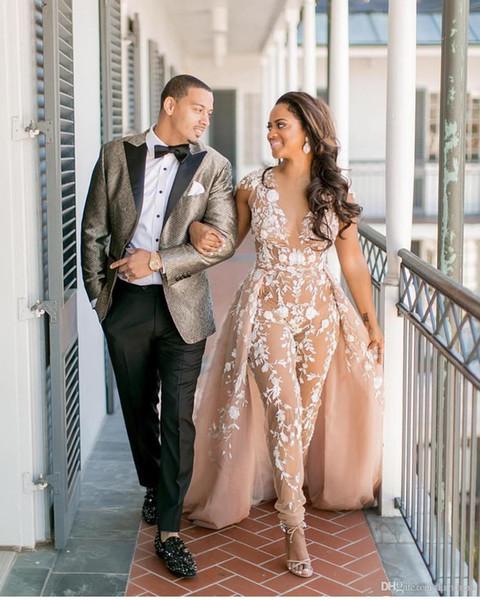 2019 New Stylish Celebrity Jumpsuit Abendkleid Mit Überrock Sexy Sheer V-Ausschnitt Flügelärmeln Party Kleider Mode Durchsichtig Abend Cocktail