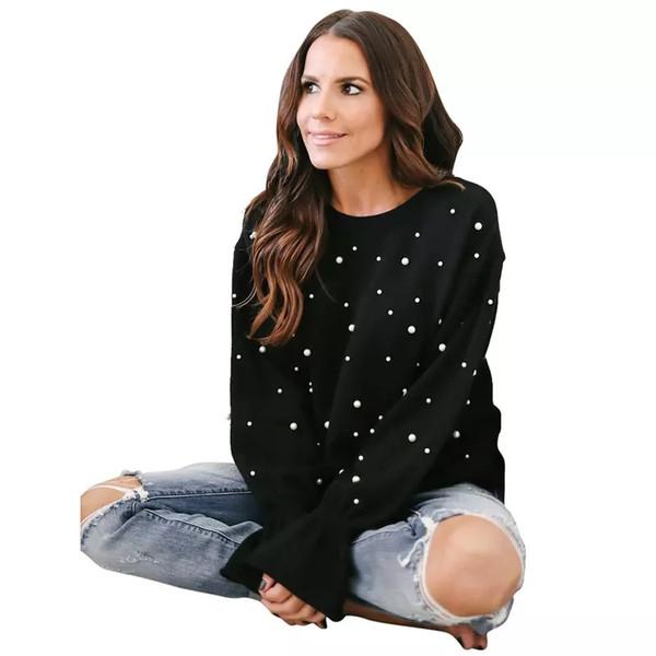 chandail des femmes automne hiver nouvelle meilleure vente mode casual perlé top col rond à manches longues top Cusual noir pull