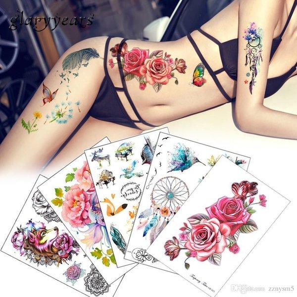 Blume Vogel Aufkleber 1 stück Gefälschte Frauen Männer DIY Henna Body Art Tattoo Design Schmetterling Ast Lebendige Temporäre Tätowierung Aufkleber
