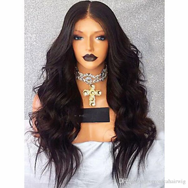 High Quality 180% Density Long Wavy Black Wig Middle Part Heat Resistant Glueless Synthetic Lace Front Wig With Baby Hair Natural Hairline