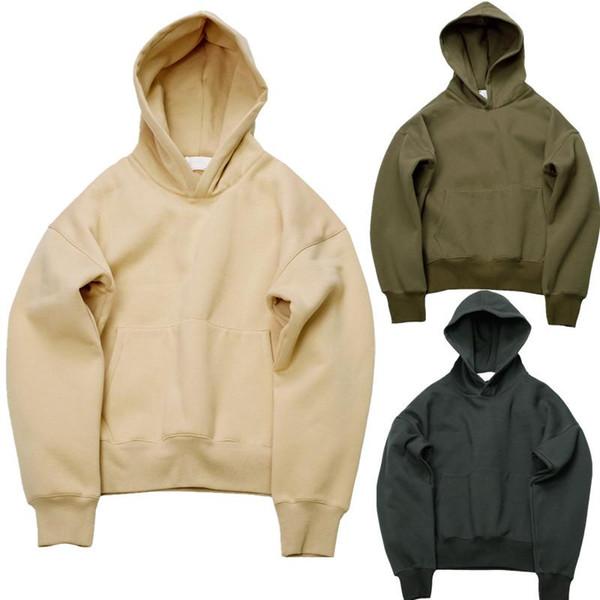 Acheter 2020 Très Bon Belle Qualité Sweat Hip Hop Avec Molletonnée Hommes D'hiver Kanye Solide Pull Over Olive Sweat Shirt À Capuche Ouest De $56.49