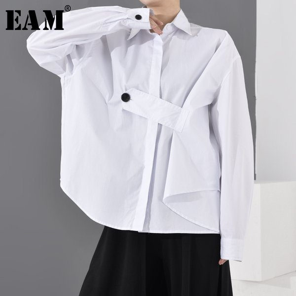 eam] women white pleated button big size blouse new lapel long sleeve loose fit shirt fashion tide spring autumn 2020 1r86100