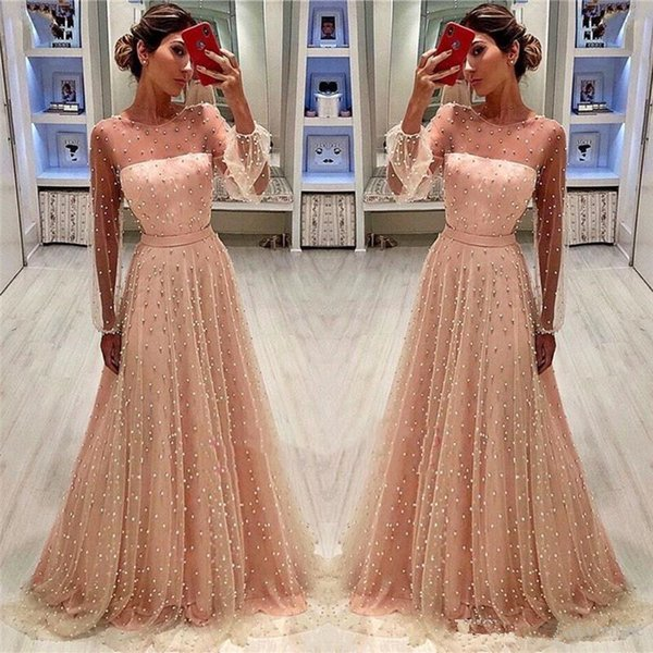 2019 Modest Sheer Poet Long Sleeves Peach Pink A Line Evening Dresses Formal Pearls Beaded Mother of Bride Groom Dress Prom Gowns