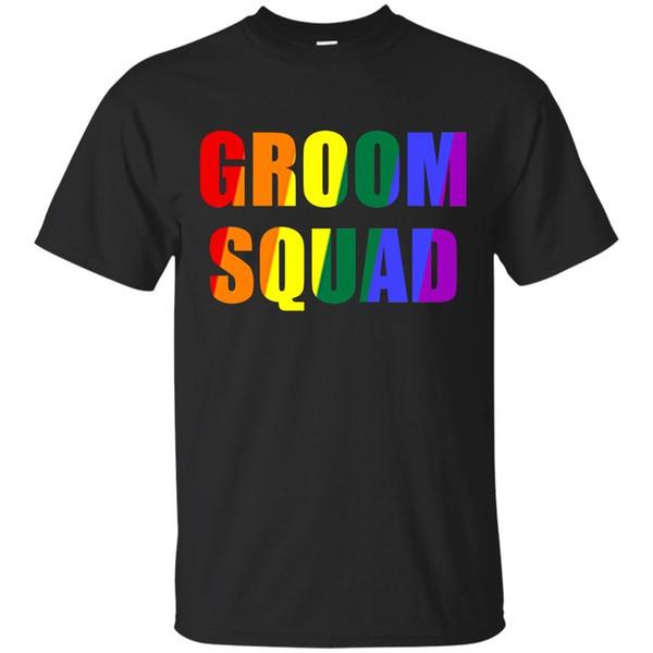 Groom Squad Shirt LGBT Pride Rainbow Bachelor Party GiftBlack,Navy men t-shirtwhite black grey red trousers tshirt