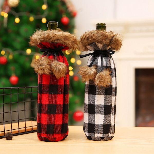 Noel Şarap Şişesi Kapağı Şarap Şampanya Şişesi Çantası Ekose Parti Ev Dekorasyon Noel Süslemeleri Malzemeleri için HHA706