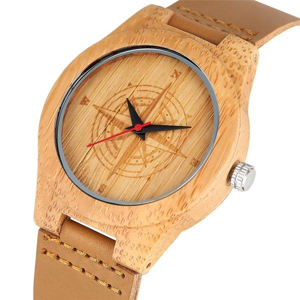 Bambu Saatler Çapa Pusula Kafatası Desen Quartz Analog Kol Doğal Ahşap İzle Kadınlar Kadın Saatler Hediye Reloj Mujer