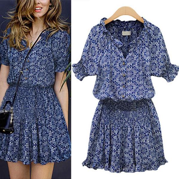 Популярные Новая Мода Лето Женщины Леди Причинно Синие Цветочные Платья Элегантный Мандарин Воротник V-образным Вырезом Эластичный Цветочный Принт Платье дизайнер одежды