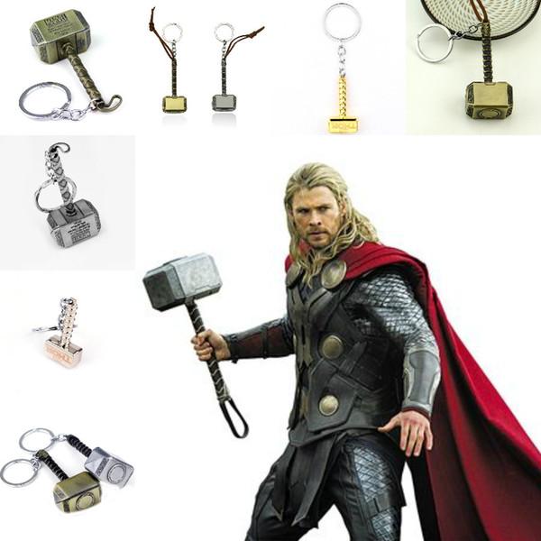 Fashion House Car Key Rings Marvel Avengers Thor's Hammer Mjolnir Keychain Captain America Shield Hulk Batman Mask Keychain Keyrings