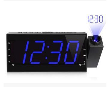 Radiosveglia FM con il tempo di proiezione della temperatura elettronico tabella di controllo del lato del letto scrivania del proiettore orologio creativo Orologio digitale
