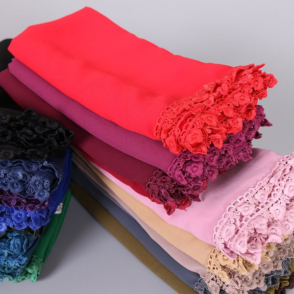 Square bubble gauze scarf with lace shawls hijab headband muslim fashion coat 20 color scarves / scarf