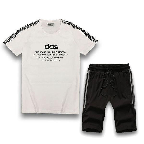 Erkek Eşofman Yaz Spor Takım Elbise 2019 Yeni Varış Moda Harfler Baskılı Iki Parçalı Eşofman Erkekler Gece Koşu Spor Erkek Spor Giydirin