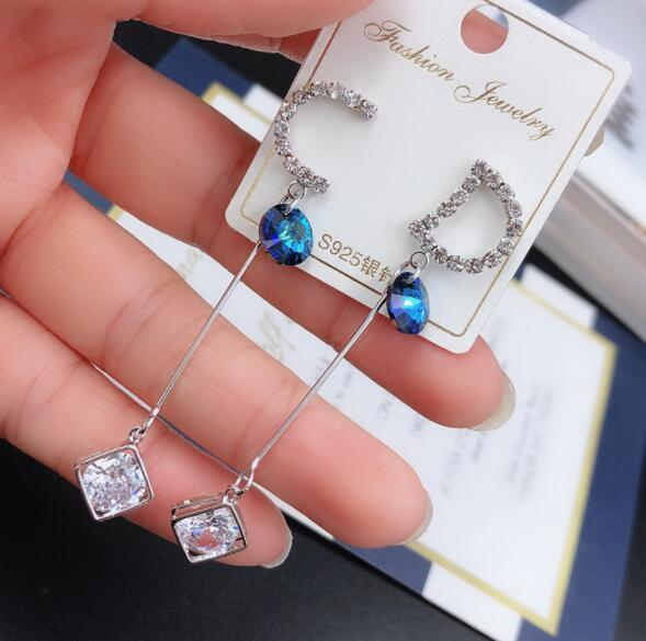 S925 Mode argent avec cristaux Swarovski Elements Boucles d'oreilles longues Boucles d'oreilles