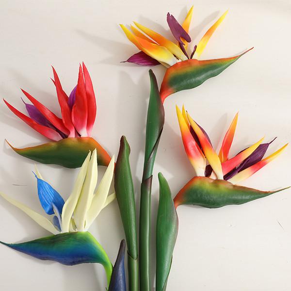 Fleur artificielle Oiseau de paradis Strelitzia plancher faux fleur sentir sensation plante verte décoration fleur pour chambre noce 80cm