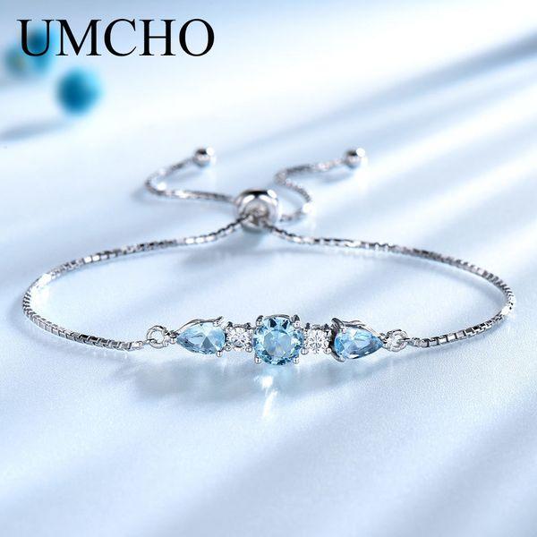 Umcho Solid 925 Sterling Silver Bracelets & Bangles For Women Natural Sky Blue Topaz Adjustable Tennis Bracelet Fine Jewelry New Y19061003