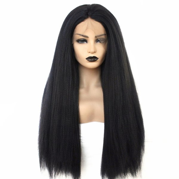Full Lace Synthetic Kinky Straight Wig Natural