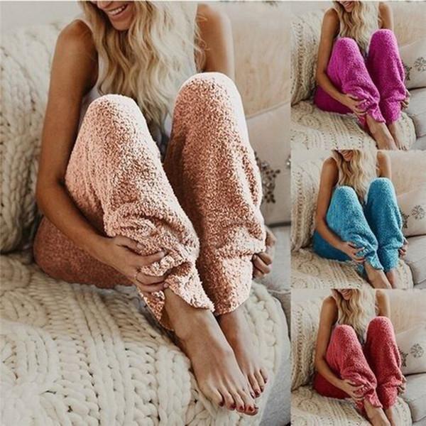 Chaud Automne Hiver Européen Polaire Femmes Vêtements De Nuit Pantalon De Pyjama Femelle Pantalon Décontracté Lâche Droite Pantalon Longue FS5300