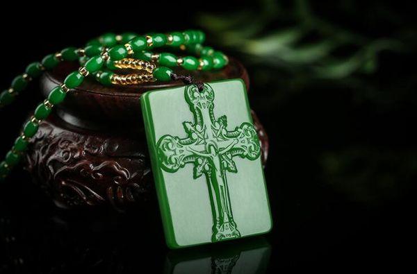 Free shipping Xinjiang Hetian jade jade Jesus pendant New pit jasper brand pendant necklace cross