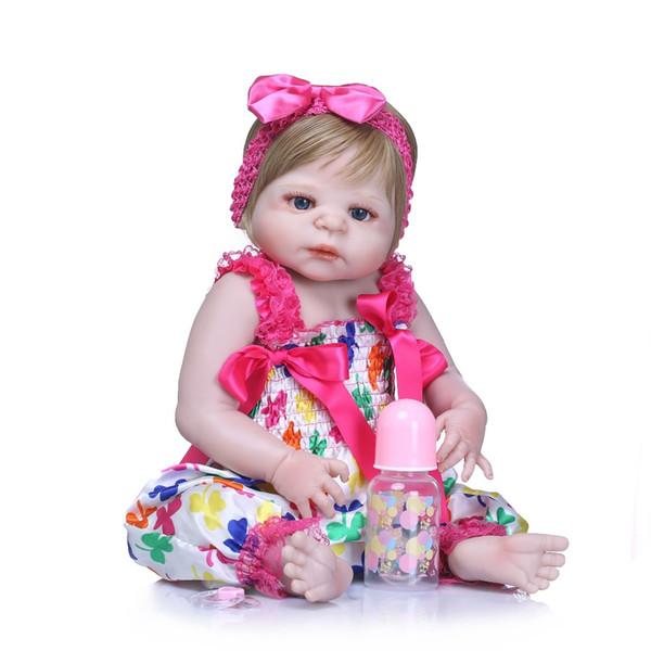 Bebe Reborn 46CM Silicone Full Body Reborn Dolls Realistic Handmade Baby Dolls Girl Kids Toy Boneca Model Birthday Gifts