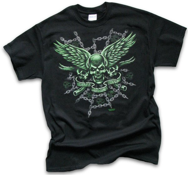 Mens Womens T Shirt Biker Live and Let Live Skulls Wings Chains Sm - 3XL free shipping cheap tee Cheap wholesale tees,