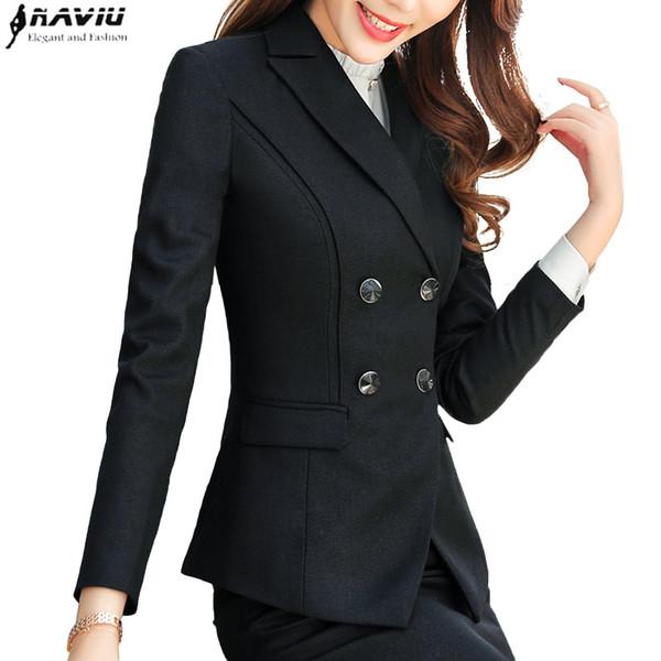 mujeres de la chaqueta de negocios de alta calidad de manera del resorte delgado desgaste doble de pecho de manga larga chaqueta de señoras de la oficina de trabajo temperamento