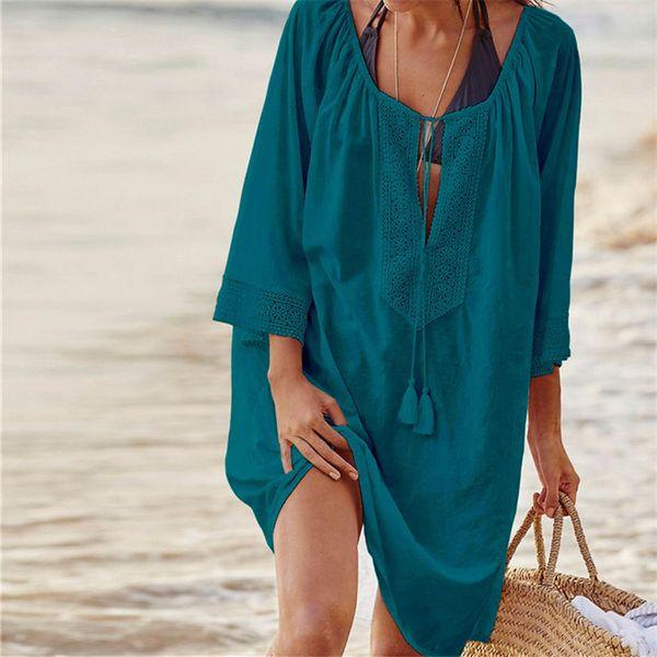 Swimwear Beach Cover up 2019 Cotton Tunics for Beach Women Swimsuit Cover up Woman Beachwear Pareo Dress Saida de Praia