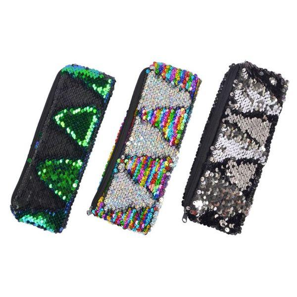 Las sirenas de las lentejuelas lápiz de mano 6 muchachas de los colores de maquillaje de viaje Bolsas estudiantes que deslumbra papelería bolsa de almacenamiento 60 Piezas de DHL