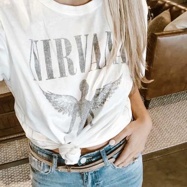 c97e785d0 Angel Graphic O-Neck Tee 2019 Summer Short Sleeve Women Shirt Top Hippie  Bohemian Chic