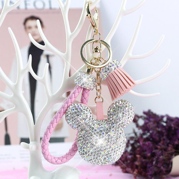 Cartoon Inlay Rhinestone Mickey Head Doll Keychain Bag Charm Pendant Car Tassel Key Chains Christmas Gift for Womans Porte Clef