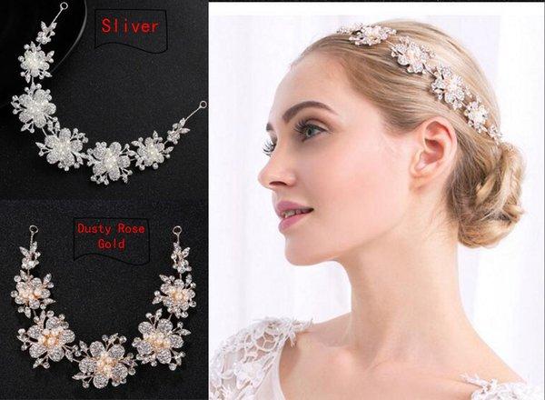 2019 Encantador Dusty Rose Gold Sliver Flowers Wedding Tiaras Tocados Bling Cristales Perlas Diseñador para la boda Prom vestido de noche joyería