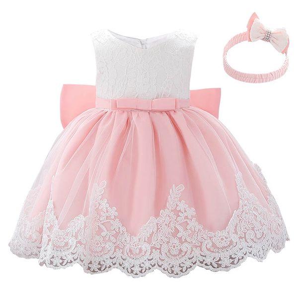 Lace детского платья девочки платье крещения крестины платье луки девушки платье + оголовье Дня рождения ребенка девушка дизайнер оденет розничную A8061